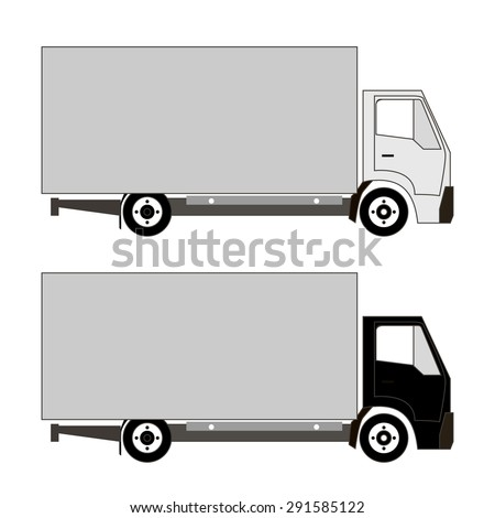 set of two trucks with different color cabs