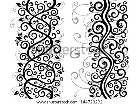 Set of two vector floral illustrations.
