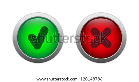 Set of two vector glossy buttons isolated on white background