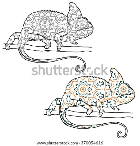 Set of two vector illustratons of chamaleon with hand drawn pattern. Reptile isolated on white. Black and white and colored chameleon - stock vector