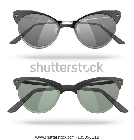 Set of two vector realistic sunglasses