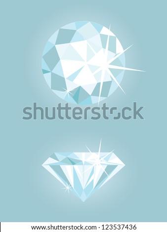 Set of two vector shiny diamonds - stock vector