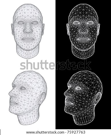 Set of Two Wireframe Views of a Human Head at the Different Angles on White and Black Background. Vector Illustration - stock vector