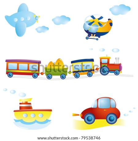 Set of types of transport. Vector illustration.