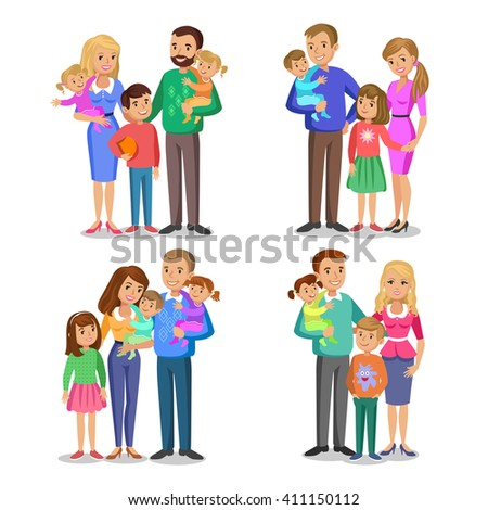 Set of typical family in love. Happy family portrait, smiling parents and kids. Vector illustration isolated on white - stock vector