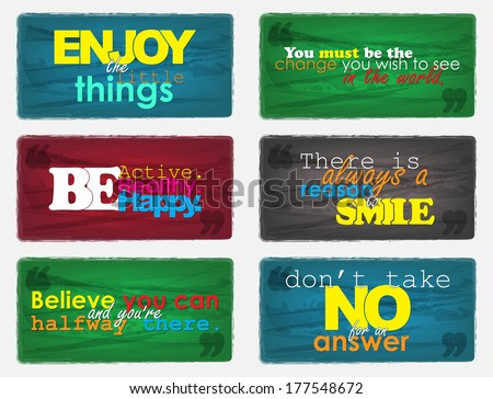 Set Of Typographic Backgrounds. Motivational Quotes. Backgrounds With Calligraphic Elements (EPS10 Vetor) - stock vector