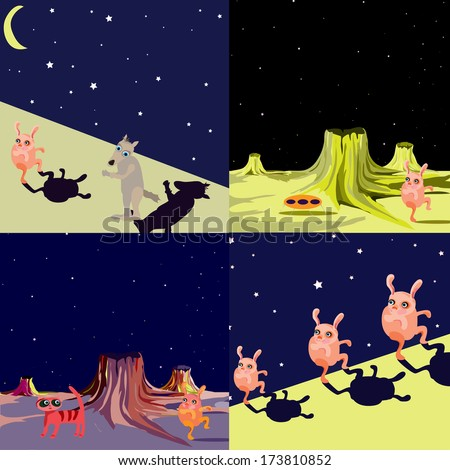 Set of UFO alien flying saucer on another planet - vector illustration in a cartoon style. (UFO vector series) - stock vector