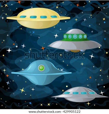 Set of ufo spaceships in comic cartoon style. Vector illustration. - stock vector