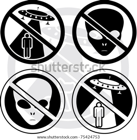 set of UFO warning signs. stencils. vector illustration - stock vector
