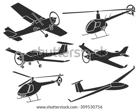 Set of ultra-light sport airplanes sillhouettes. - stock vector