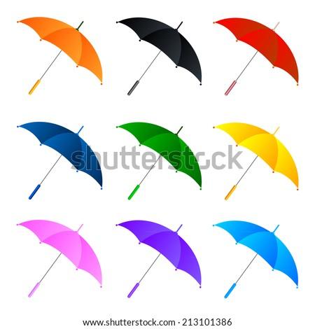 Set of umbrellas on white background. Vector illustration - stock vector