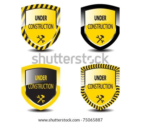 Set of Under construction shields - stock vector