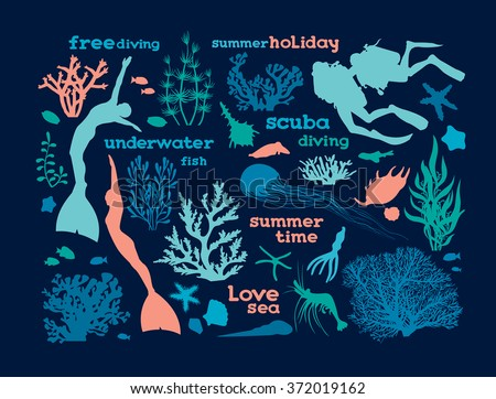 Set of underwater creatures, corals and silhouette of scuba and free divers. Vector illustration with ocean elements on a blue background. Love sea. - stock vector