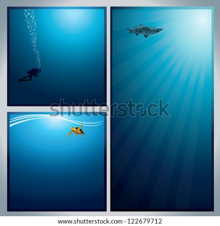 Set of underwater live image - diver with bubbles, turtle with waves and shark - stock vector