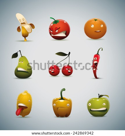 set of Unhappy fruits and vegetables, vector - stock vector