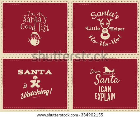 Signs Quotes Best Set Unique Christmas Funny Signs Quotes Stock Vector 334902155