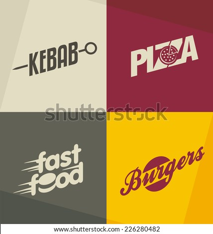 Set of unique fast food logo design concepts and ideas. Pizza, kebab, burger and fast food retro design elements, symbols, icons and banners. - stock vector