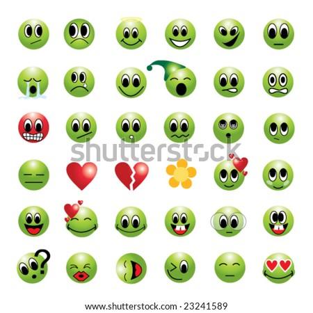 Set of unique green smile - stock vector