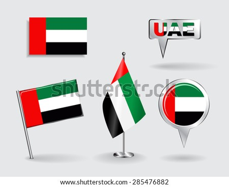Set of United Arab Emirates pin, icon and map pointer flags. Vector illustration. - stock vector