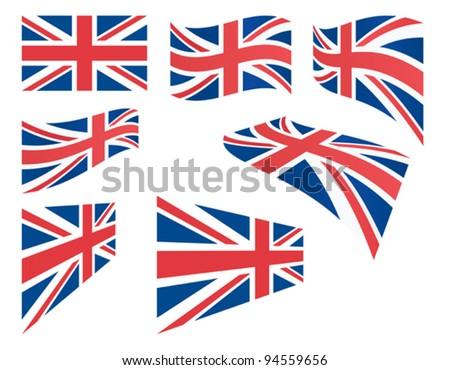 set of United Kingdom flags vector illustration - stock vector