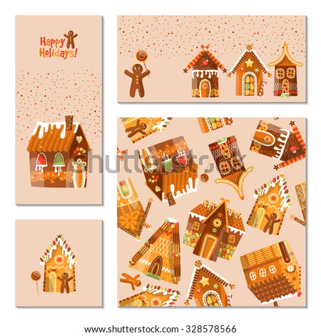 Set of 4 universal cards with festive gingerbread houses. Christmas decoration. Template. Vector illustration - stock vector