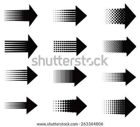 Set of universal decorative arrows with raster effect. Vector illustration - stock vector