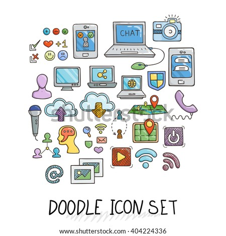 Set of Universal Doodle Icons. Bright Colors and Variety of Topics. Computers, Communications, Clouds, Social Networks. - stock vector