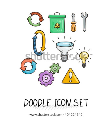 Set of Universal Doodle Icons. Bright Colors and Variety of Topics. Processing, Arrows, Light Bulb. - stock vector