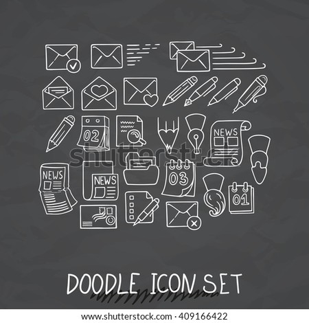Set of Universal Doodle Icons. Variety of Topics. Letters, Calendars, News, Mail, Stationery. - stock vector