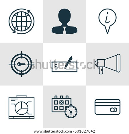 Set Of 9 Universal Editable Icons For Management, Project Management And Transportation Topics. Includes Icons Such As Manager, World, Info Pointer And More.
