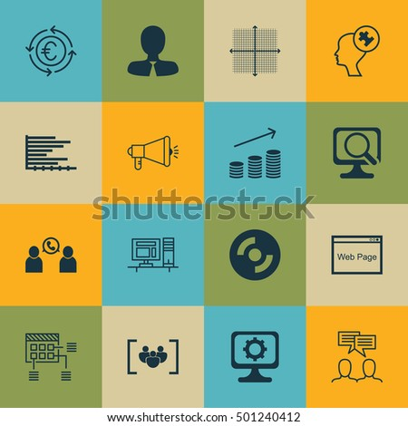 Set Of 16 Universal Editable Icons For Statistics, Marketing And Computer Hardware Topics. Includes Icons Such As Questionnaire, Media Campaign, Bars Chart And More.