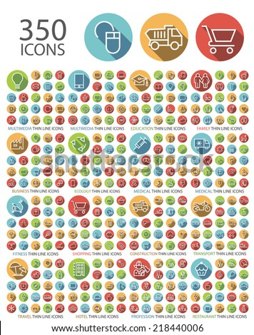 Set of 350 Universal Flat Minimalistic Elegant Standard Thin Line Icons on Circular Colored Buttons on White Background. - stock vector
