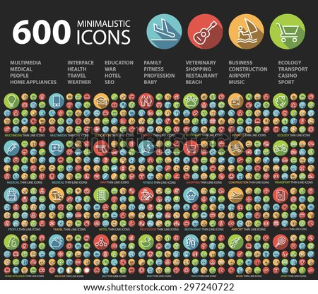 Set of 600 Universal Flat Minimalistic Elegant Standard Thin Line Icons on Circular Colored Buttons on Black Background. - stock vector