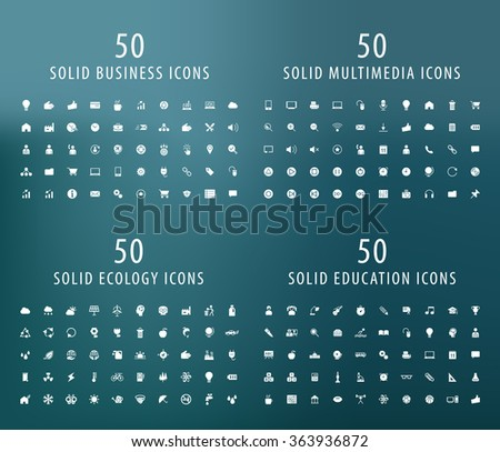Set of 200 Universal Icons ( Business , Multimedia , Ecology and Education ) . Isolated Elements.