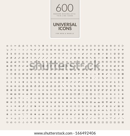 Set of universal icons for web and mobile. Big package of modern minimalistic, thin line icons. - stock vector