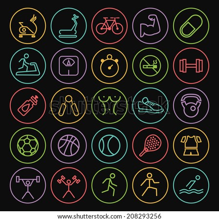 Set of Universal Minimal Simple Fitness Thin Neon Line Icons on Minimal Circular Buttons on Black Background. - stock vector
