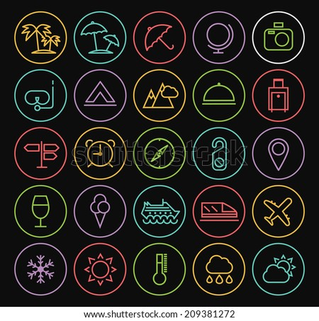 Set of Universal Minimal Simple Travel Thin Neon Line Icons on Minimal Circular Button on Black Background. - stock vector