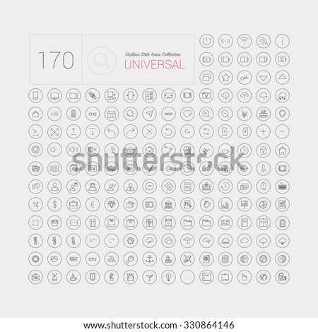 Set of 170 universal modern thin line icons for web and mobile - stock vector