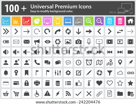 Set of 100+ Universal Premium Icons. Easy to modify the background color. Media Icons, Web Icons, Arrow Icons, Settings Icon, Shopping Icons, Cloud Icons, User Icons, Finance Icons, Mobile Icons. - stock vector