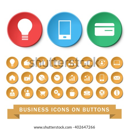 Set of 24 Universal SEO and Business Icons on Circular Buttons. Isolated Elements.