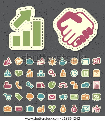 Set of 45 Universal Standard New Color Business Icons Paper Cut Style. - stock vector