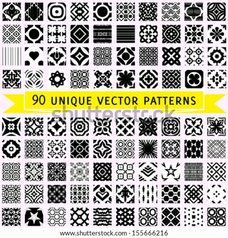Set of 90 universal vector seamless patterns (tiling) in black and white. Geometric and floral textures can be used for print, wallpaper, web page background, surface design, textile, fashion, cards. - stock vector