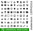 Set of 72 universal web icons isolated on white - stock vector