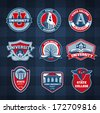 Set of university and college school badges - stock