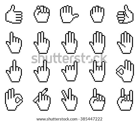 Set of unusual pixelated hand icons. Vector illustration