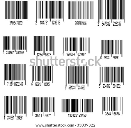 Set of UPC Bar codes, all data is fictional - stock vector