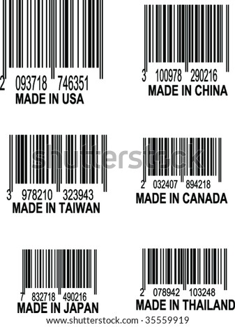 Set of UPC Bar codes, all data is fictional,  each barcode indicates the country location of origin for the following places: USA, China, Taiwan, Canada, Thailand, Taiwan, Thailand, and Japan - stock vector