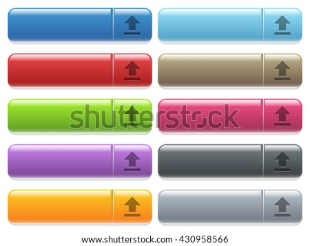 Set of upload glossy color menu buttons with engraved icons