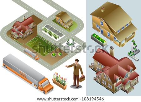 set of urban map isometric.  very detail isometric vector - stock vector