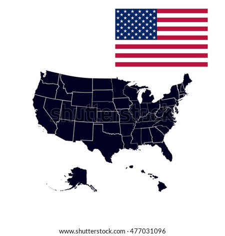 Set Us States Map America On Stock Illustration - Map of us states black and white